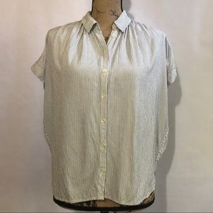 Madewell Striped High Low Blouse M